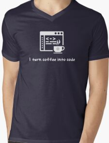 I turn coffee into code Mens V-Neck T-Shirt
