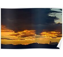 Sun setting below the horizon  Poster
