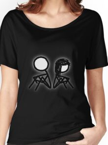 Cartoon Silhouetted Couple [Big] Women's Relaxed Fit T-Shirt