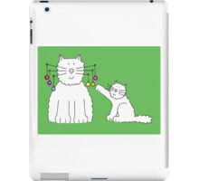 Cat with baubles on whiskers, and kitten playing with them. iPad Case/Skin