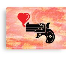 Pistol Blowing Heart Bubbles Canvas Print