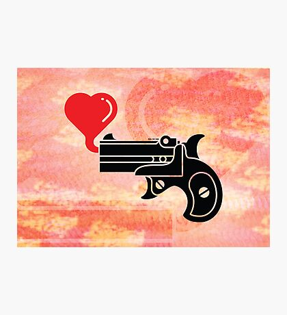 Pistol Blowing Heart Bubbles Photographic Print