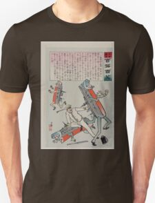 Japanese sailor with his bare hands is fighting with two Russian battleships  with arms legs and faces a third battleship runs away 002 T-Shirt