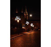 Prague street on a Christmas night. Photographic Print