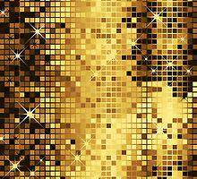 Gold Yellow Tones Retro Glitter Disco-Ball Mirrors Pattern by artonwear