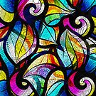 Colorful Random Abstrac Swirls-Stained Glass Look by artonwear