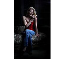 Sexy Blond Sitting Photographic Print