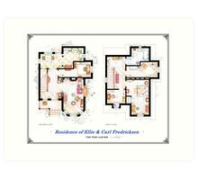 "Floorplan of the House from ""UP"" Art Print"