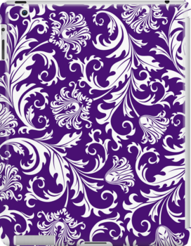Purple And White Vintage Floral Damasks by artonwear