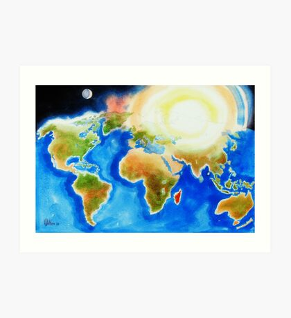 Sunshine Over the World Map Art Print