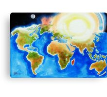 Sunshine Over the World Map Canvas Print
