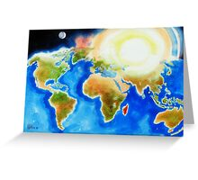 Sunshine Over the World Map Greeting Card