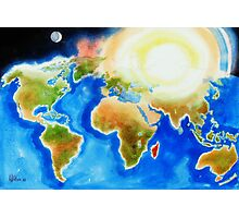 Sunshine Over the World Map Photographic Print
