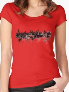 Kuwait City skyline in black watercolor Women's Fitted Scoop T-Shirt
