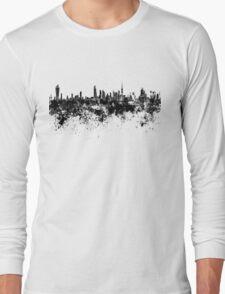 Kuwait City skyline in black watercolor Long Sleeve T-Shirt