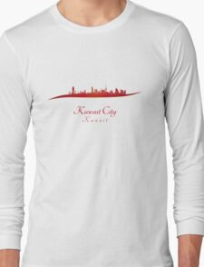 Kuwait City skyline in red Long Sleeve T-Shirt