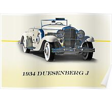 1934 Duesenberg J w/ID Poster