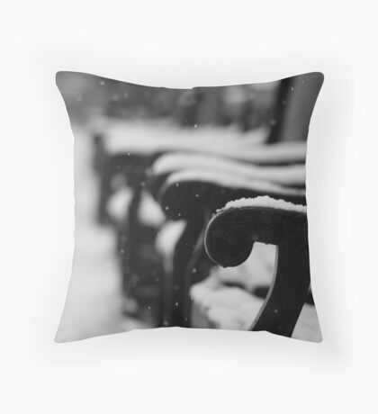 Benches in the snow (Eastbourne, 2013) Throw Pillow