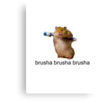cute baby hamster brush your teeth - brusha brusha  Canvas Print
