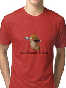 cute baby hamster brush your teeth - brusha brusha  Tri-blend T-Shirt