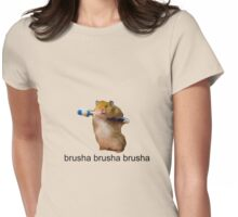 cute baby hamster brush your teeth - brusha brusha  Womens Fitted T-Shirt