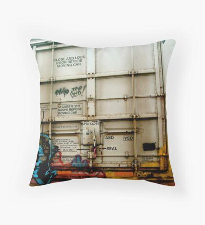 Train Car Graffitti Throw Pillow