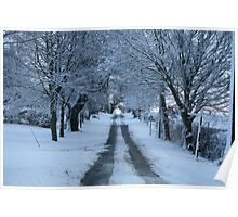 Snowy road.Snow in Poster