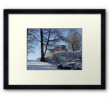 Dinefwr Castle Turret in snow-01 Framed Print