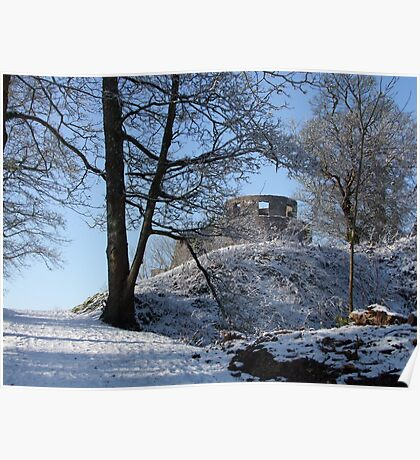 Dinefwr Castle Turret in snow-01 Poster