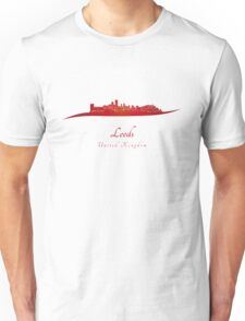 Leeds skyline in red Unisex T-Shirt