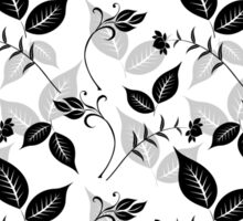 Black Floral with Leaves Sticker