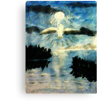 The Owl on a night flight, watercolor Canvas Print