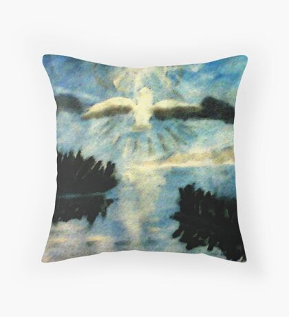 The Owl on a night flight, watercolor Throw Pillow