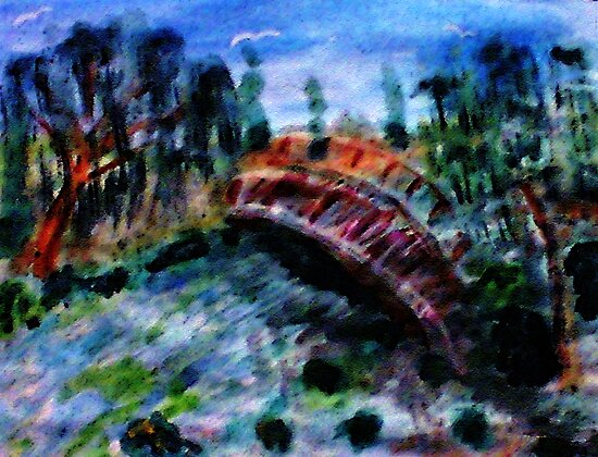 My version #5 of the Japanese Bridge,a Monet, watercolor by Anna  Lewis