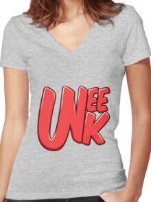 "UNEEK ""Bubble Gum"" Original logo Women's Fitted V-Neck T-Shirt"