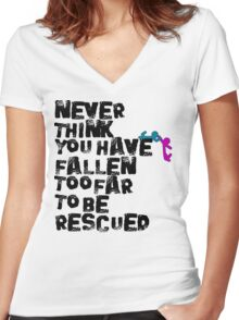 Rescued  Women's Fitted V-Neck T-Shirt