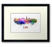Lille skyline in watercolor Framed Print