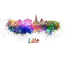 Lille skyline in watercolor Photographic Print