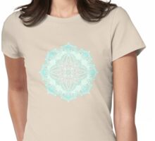 Aqua Lace Mandala on Cream - customer request Womens Fitted T-Shirt