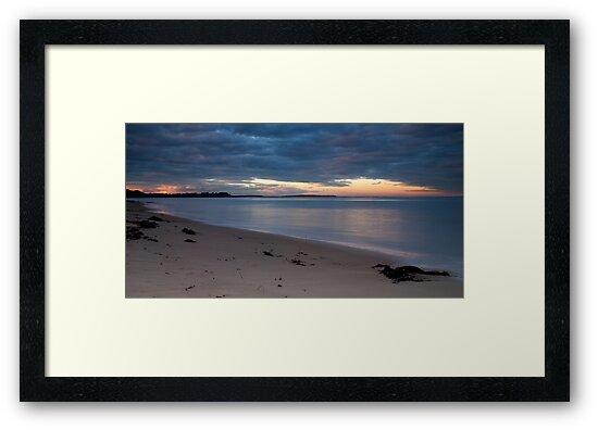 Sunset on a deserted beach by Vickie Burt