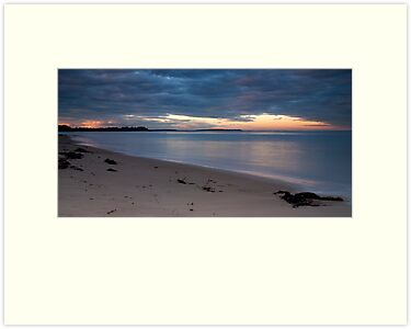 Sunset on a deserted beach by Vickie Burt