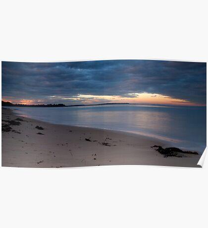 Sunset on a deserted beach Poster