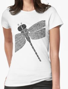 Dragon Fly Doodled Womens Fitted T-Shirt