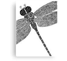 Dragon Fly Doodled Canvas Print