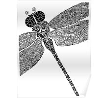 Dragon Fly Doodled Poster