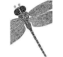 Dragon Fly Doodled Photographic Print