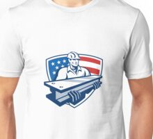 Construction Steel Worker I-Beam American Flag Unisex T-Shirt