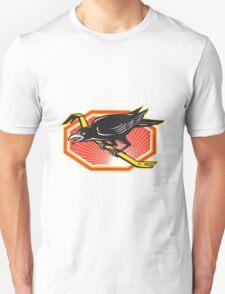 Crow Perching on Crowbar Retro T-Shirt