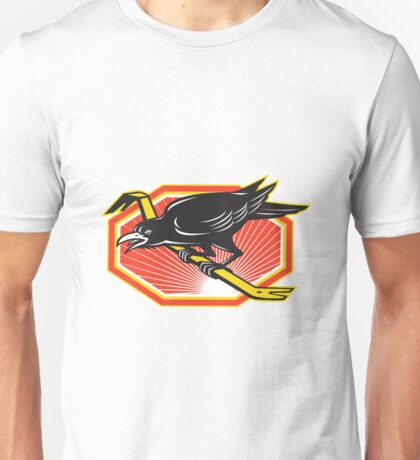Crow Perching on Crowbar Retro Unisex T-Shirt