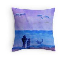 The guys having Quality time together, watercolor Throw Pillow
